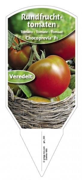 Tomaten, Rundfrucht- 'Chocoprevia F1' veredelt